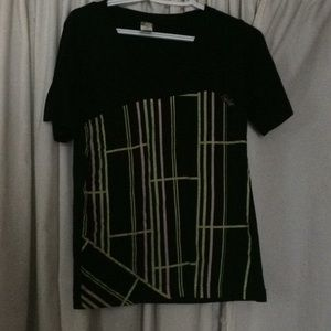 A black graphic tee